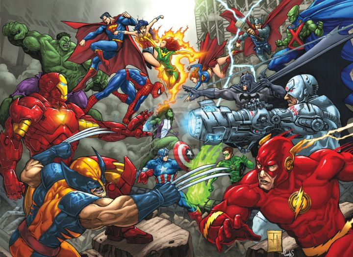 Superheroes from Marvel and DC